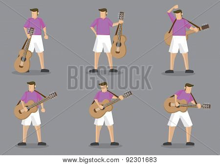 Guitarist And Acoustic Guitar Vector Character Illustration