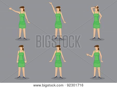 Young Girl In Green Dress Vector Character Illustration