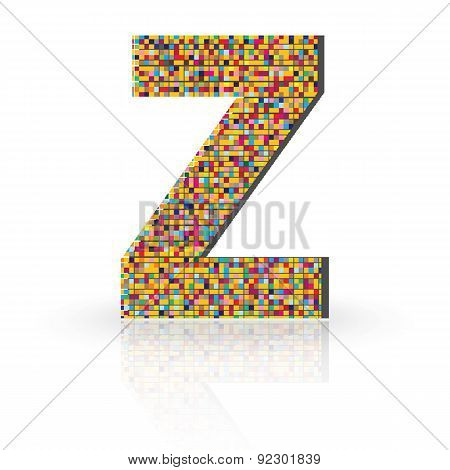 3D Vector Font With Reflection Alphabet Letter Z