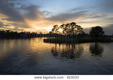 Golden Sunset On Small Island