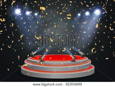 Podium with light and confetti