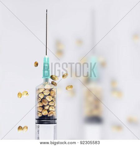 Hemp Seeds In A Syringe