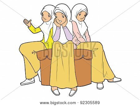 Group Of Muslim Young Girls