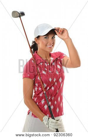 Beautiful young golfer tipping cap isolated over white background