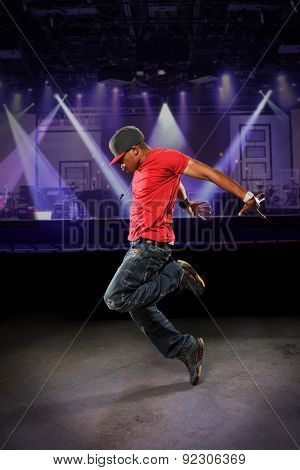 African American hip hop dancer performing indoors