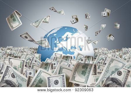 Dollar Banknotes Falling On Money Farm And Around Earth