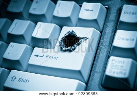 keyboard with a hole / computer security breach