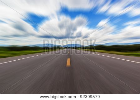 Motion Blur Of A Rural Road To Infinity