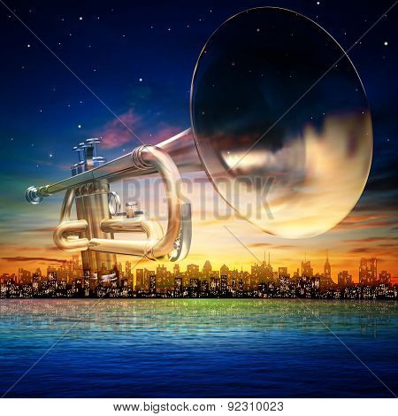 Abstract Background With Silhouette Of New York And Trumpet