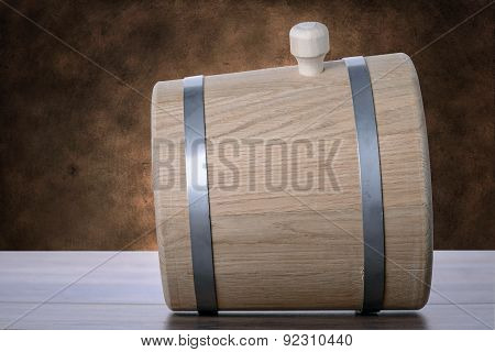 Barrel On A Brown Grunge Background