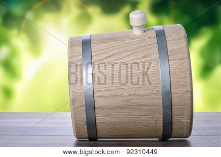 Barrel On A Table With Natural Background