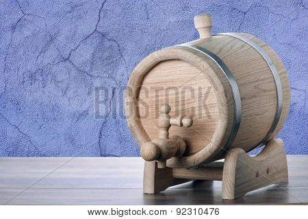 Oak Barrel On Blue Concrete Background