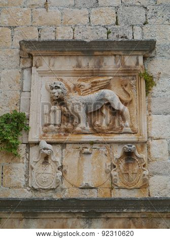 A wall relief in Korcula in Croatia