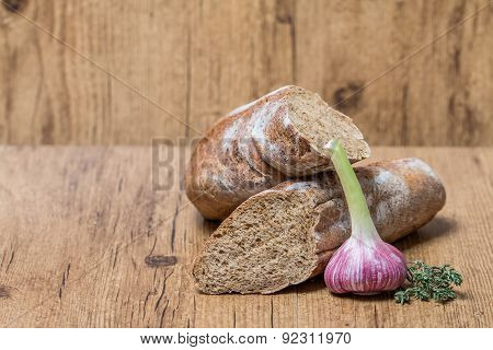 Fresh Bread Baguette With Garlic  And Herbs
