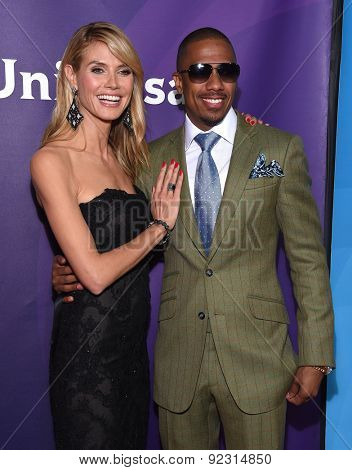LOS ANGELES - APR 02:  Heidi Klum & NIck Cannon arrives to the NBCUniversal's Summer Press Day 2015  on April 02, 2015 in Hollywood, CA