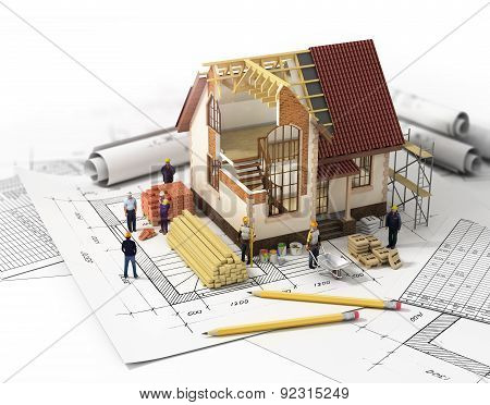 House With Open Interior On Top Of Blueprints, Documents And Mortgage Calculations And Builders. Con