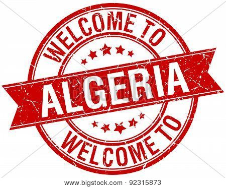 Welcome To Algeria Red Round Ribbon Stamp