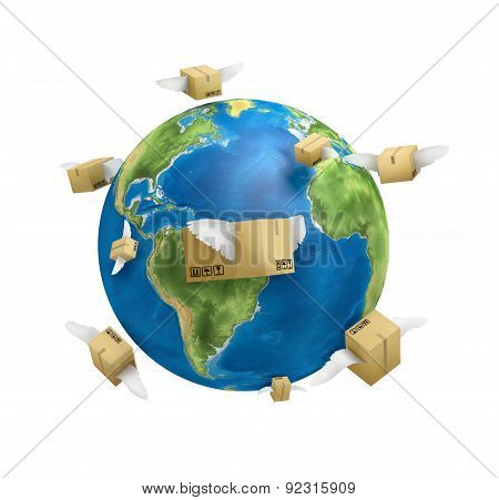 Shipping Worldwide , Planet , Post Boxes With Krill, On A White Background