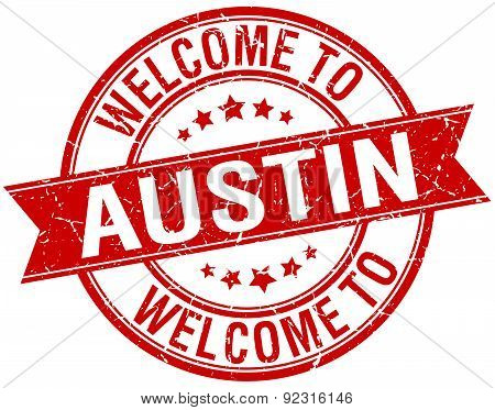Welcome To Austin Red Round Ribbon Stamp