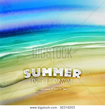 Watercolor Seascape for Summer Holidays Design. Aquarelle Beach with Sand and Ocean.