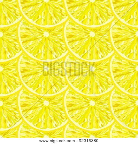 Seamless Pattern From Slice Of Ripe Delicious Lemon