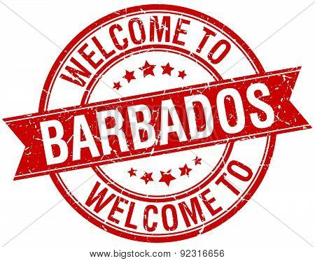 Welcome To Barbados Red Round Ribbon Stamp