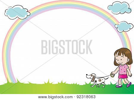 kids with pet in the blank backgound