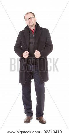 Men in a black coat.