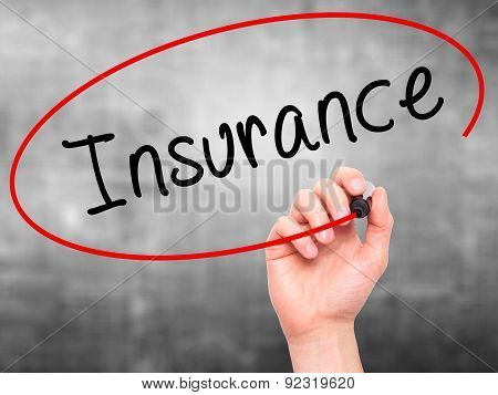 Man Hand writing Insurance with marker on transparent wipe board.