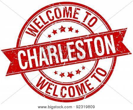 Welcome To Charleston Red Round Ribbon Stamp