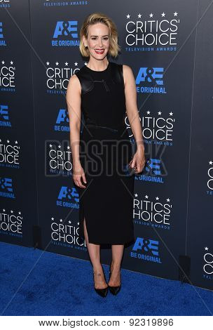 LOS ANGELES - MAY 31:  Sarah Paulson arrives to the Critic's Choice Television Awards 2015  on May 31, 2015 in Hollywood, CA