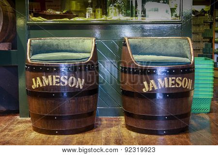 Cork, Ireland - June 20, 2008: Decorative Jameson Irish Whiskey Barrel Armchairs At The Jameson Heri