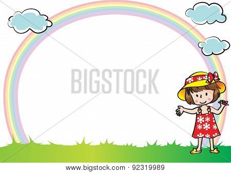 kids with rainbow backgound