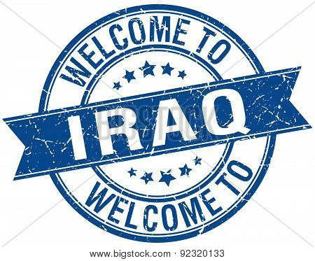Welcome To Iraq Blue Round Ribbon Stamp