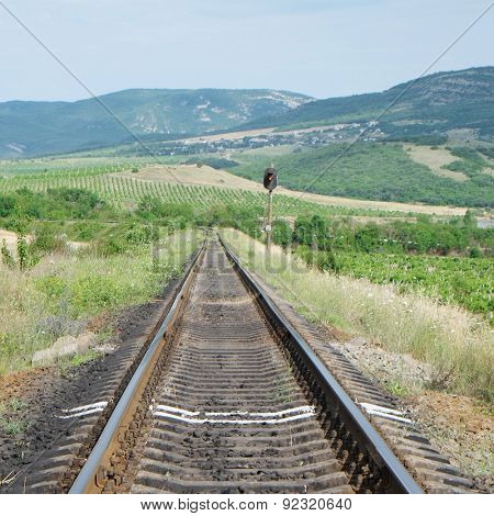 the image of view of the railroad tracks in mountains