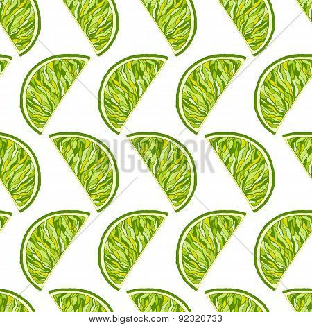 Seamless Pattern From Slice Of Ripe Delicious Limes On White Background
