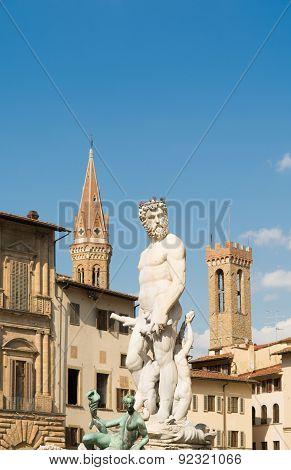 Statue Of Triton In Piazza Della Signoria In Florence, Tuscany