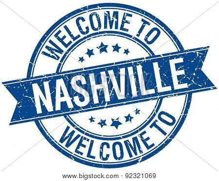 Welcome To Nashville Blue Round Ribbon Stamp