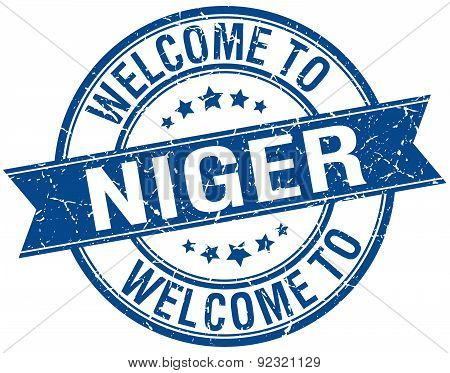 Welcome To Niger Blue Round Ribbon Stamp