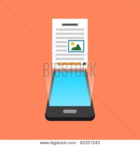 Smartphone Blogging Concept. Isometric Design.