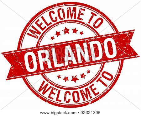 Welcome To Orlando Red Round Ribbon Stamp