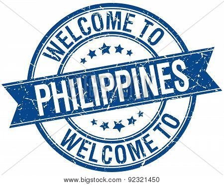 Welcome To Philippines Blue Round Ribbon Stamp