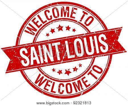 Welcome To Saint Louis Red Round Ribbon Stamp