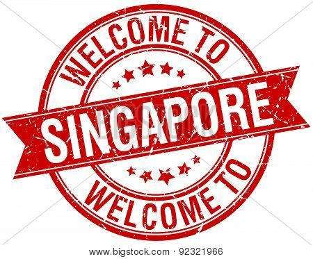 Welcome To Singapore Red Round Ribbon Stamp