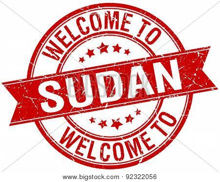 Welcome To Sudan Red Round Ribbon Stamp