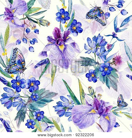 Seamless Pattern. Watercolor Iris, Leaves, Butterfly.