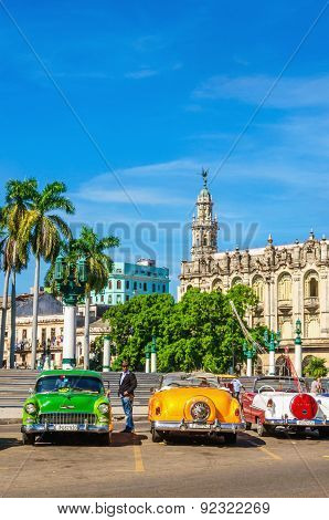 Classic American colorful cars in Havana, Cuba