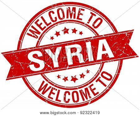 Welcome To Syria Red Round Ribbon Stamp
