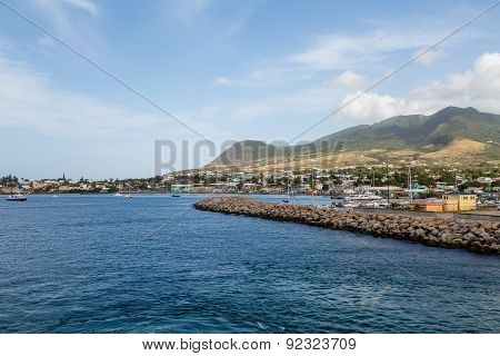 Sea Wall And Protected Harbor On St Kitts