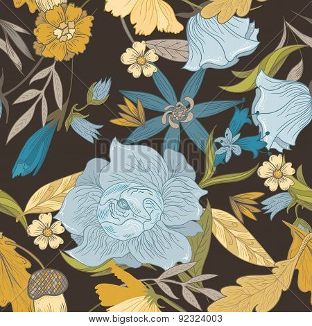 Vector Pattern With Vintage Flowers